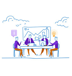 Businessmen office table conference financial vector