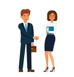 businesswoman and businessman standing together vector image