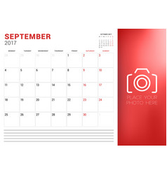 Calendar planner template for september 2017 week vector