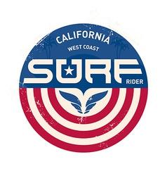 California west coast surfers Pacific Ocean team vector image