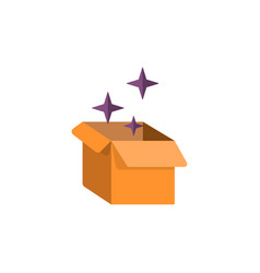 cardboard box flat icon with magical vector image