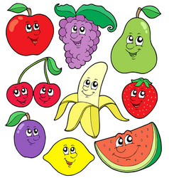 cartoon fruits collection 1 vector image