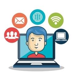 Cartoon guy laptop media connection graphic vector