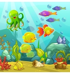 Cartoon underwater landscape vector