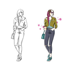 Casual street look fashion vector