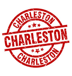 Charleston red round grunge stamp vector