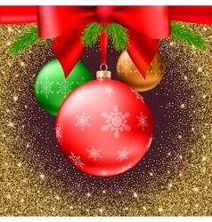 Christmas balls green fir branches bow shiny vector image