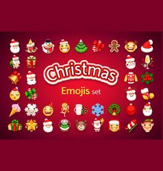 christmas emojis holiday set vector image