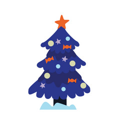 christmas tree with snowcapes vector image