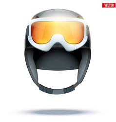 Classic ski helmet with snowboard goggles vector