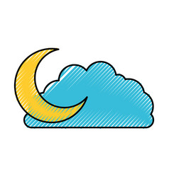 Cloud and crescent moon colored crayon silhouette vector