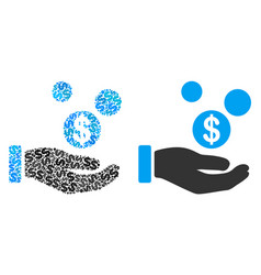 coins payment hand collage of dollars vector image