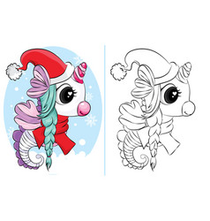 coloring book seahorse with santa hat and vector image