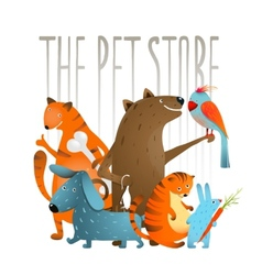 Company of Cartoon Domestic Animals vector image