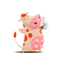 cow holding milk botle vector image