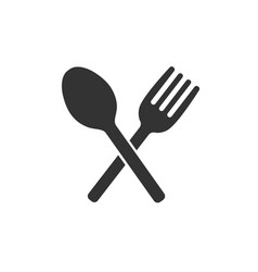 crossed fork and spoon icon vector image