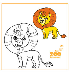 cute cartoon little lion color and outlined on a vector image