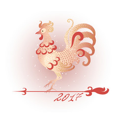 decorative red rooster as the symbol of new year vector image