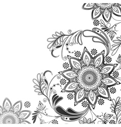 Eastern motif in black and white vector