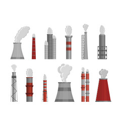 Factory chimneys flat isolated vector