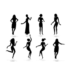 Female silhouette set vector image