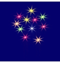 Festive multi-colored fireworks on a blue vector