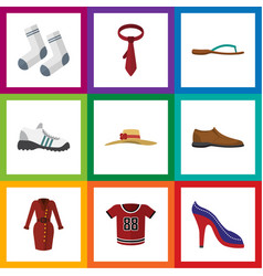 flat icon dress set of sneakers clothes beach vector image