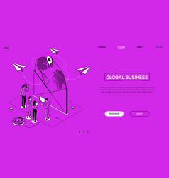 Global business - line design style isometric web vector