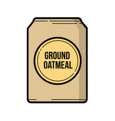 Ground oatmeal bag vintage icon vector