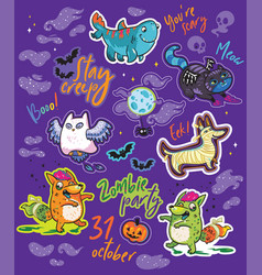 halloween bright stickers design with owl black vector image