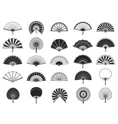 handheld fan black silhouettes chinese vector image