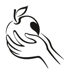 Hands and Apple Icon vector image