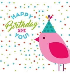 happy birthday celebration card with bird vector image