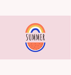 hello summer banner design with watermelon vector image