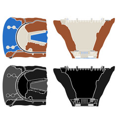 Hoover hydroelectric dam colored and outline vector