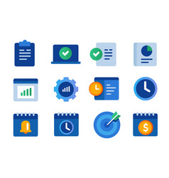 icon set collection productivity gear vector image