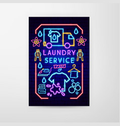 laundry service neon flyer vector image