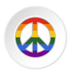 lgbt peace sign icon circle vector image
