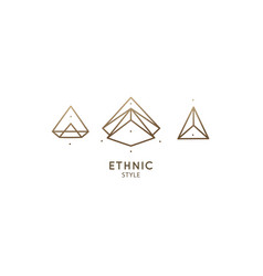 Linear abstract logo diamond vector