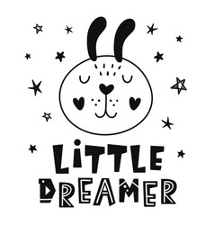 Little dreamer scandinavian style childish poster vector