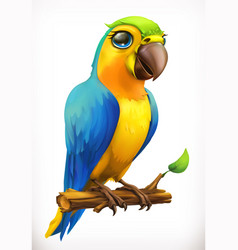 Little parrot cartoon character funny animal 3d vector