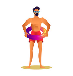 Man in sunglasses and red trunks with lifebuoy vector