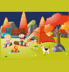 Many children camping out in the forest vector