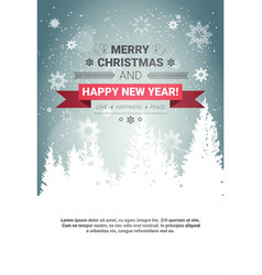 merry christmas and happy new year concept winter vector image