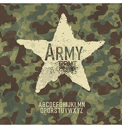 Military stamp letters Army font with camouflage vector