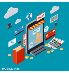 Mobile store online shopping distant trading vector image