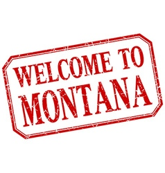 Montana - welcome red vintage isolated label vector
