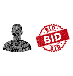 Mosaic user with scratched bid seal vector