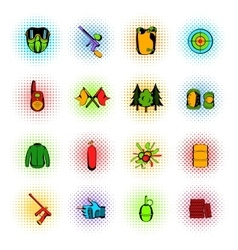 Paintball game comics icons set vector image