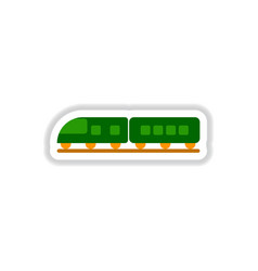 paper sticker on white background train vector image